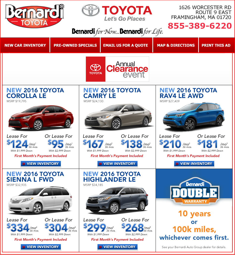 New Toyota Lease Specials Near Framingham Machusetts