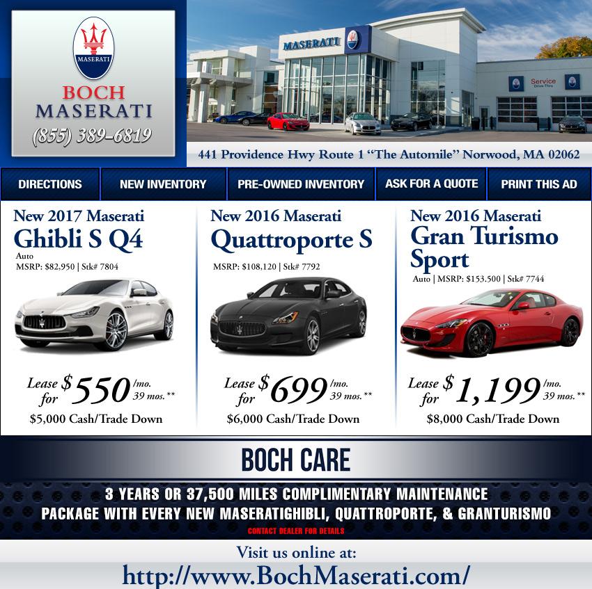 Boch Ferrari / Maserati On The Automile In Norwood, MA