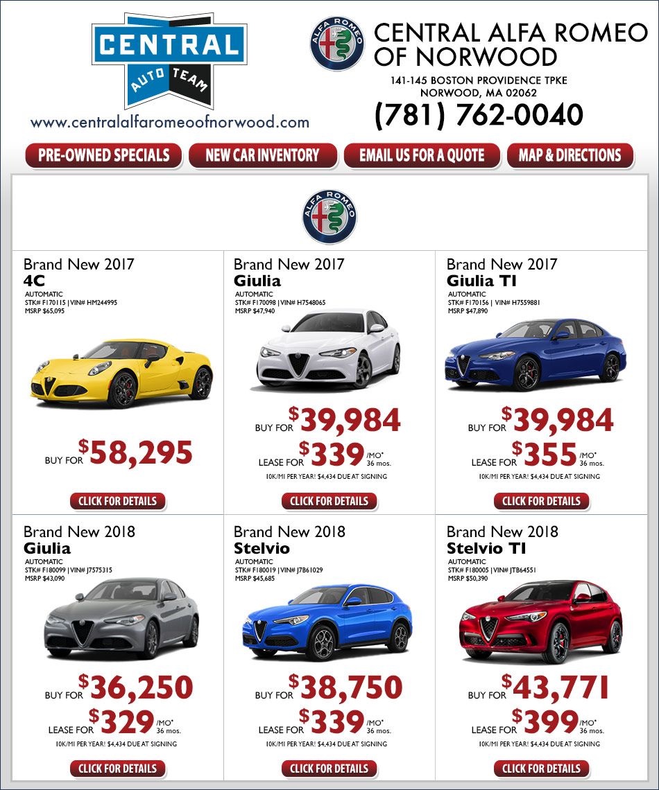 current new alfa romeo specials offers central alfa romeo of norwood