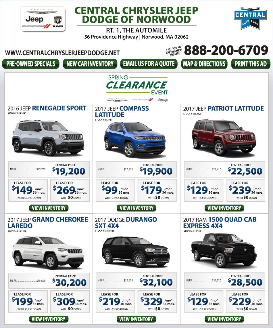 Elegant Central Chrysler Jeep Dodge On The Automile  Bostoncom Ads