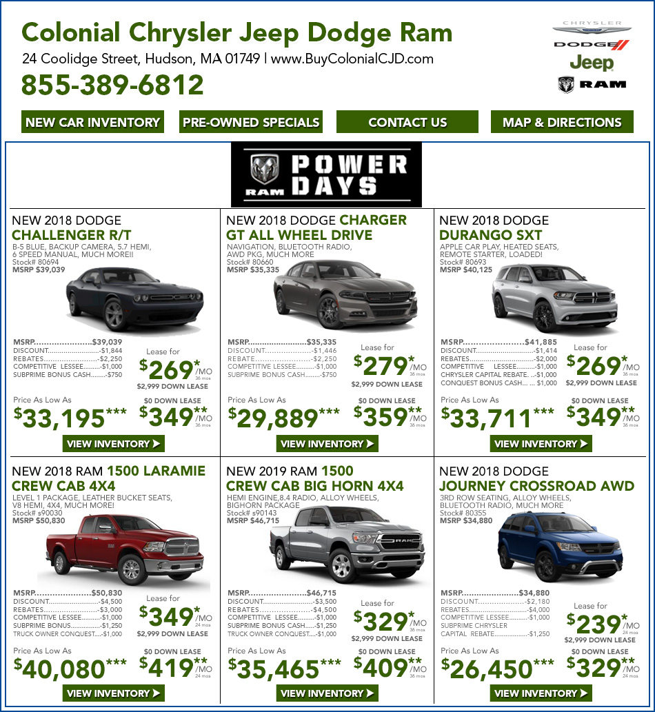 Great New 2018 2019 Dodge Ram Specials | Near Worcester, MA