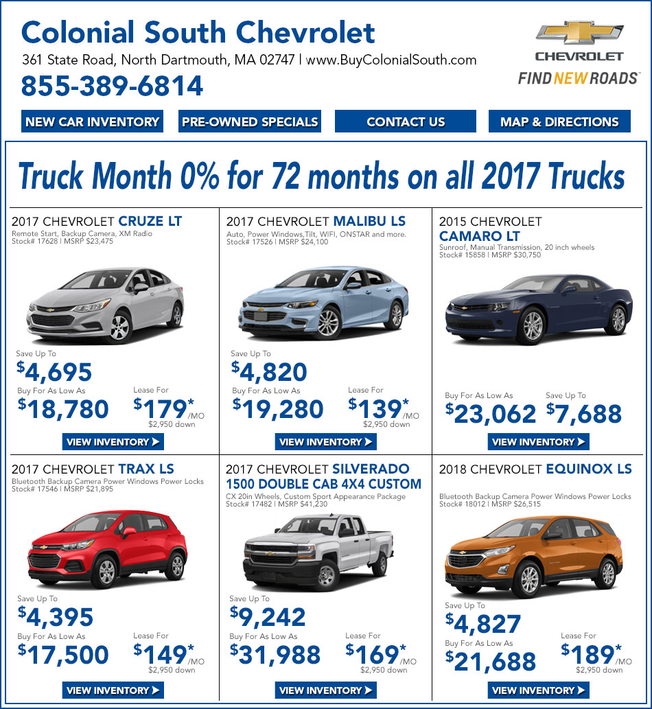 Fall river ma chevy lease deals u0026 special offers colonial south