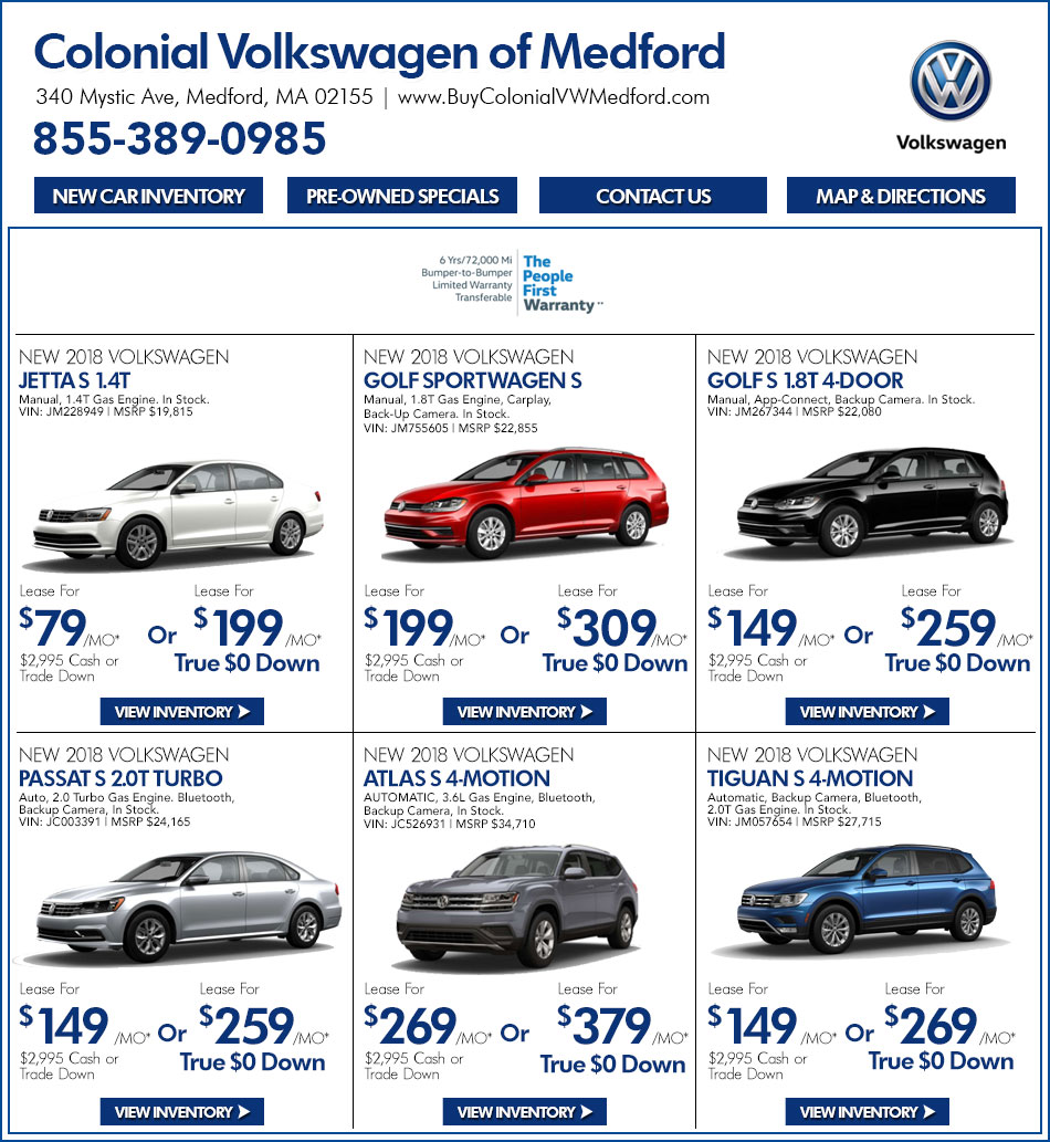 New VW Sale in Boston MA - New Volkswagen Car Deals | Colonial VW of ...