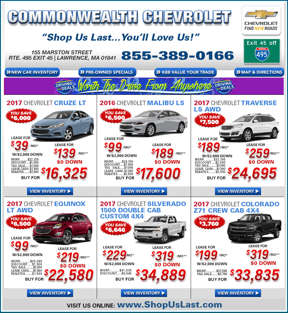 New Chevy Car Deals From Colonial Chevrolet In Lawrence