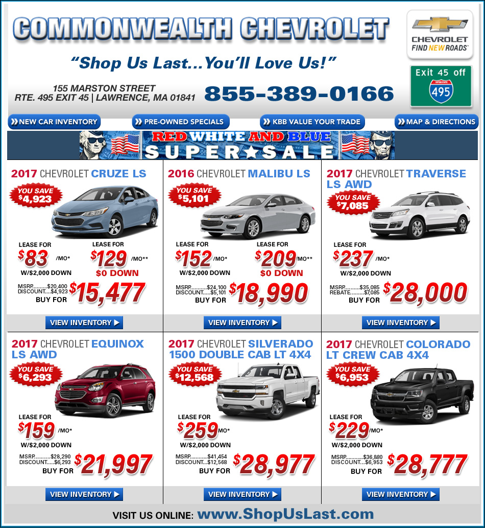 New chevy car deals from colonial chevrolet in lawrence Commonwealth motors used cars