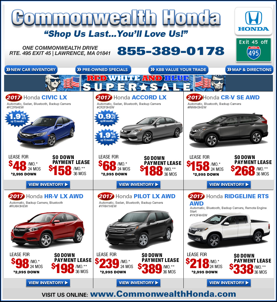 Ma Honda Dealers Deals From Commonwealth Honda Lawrence Ma