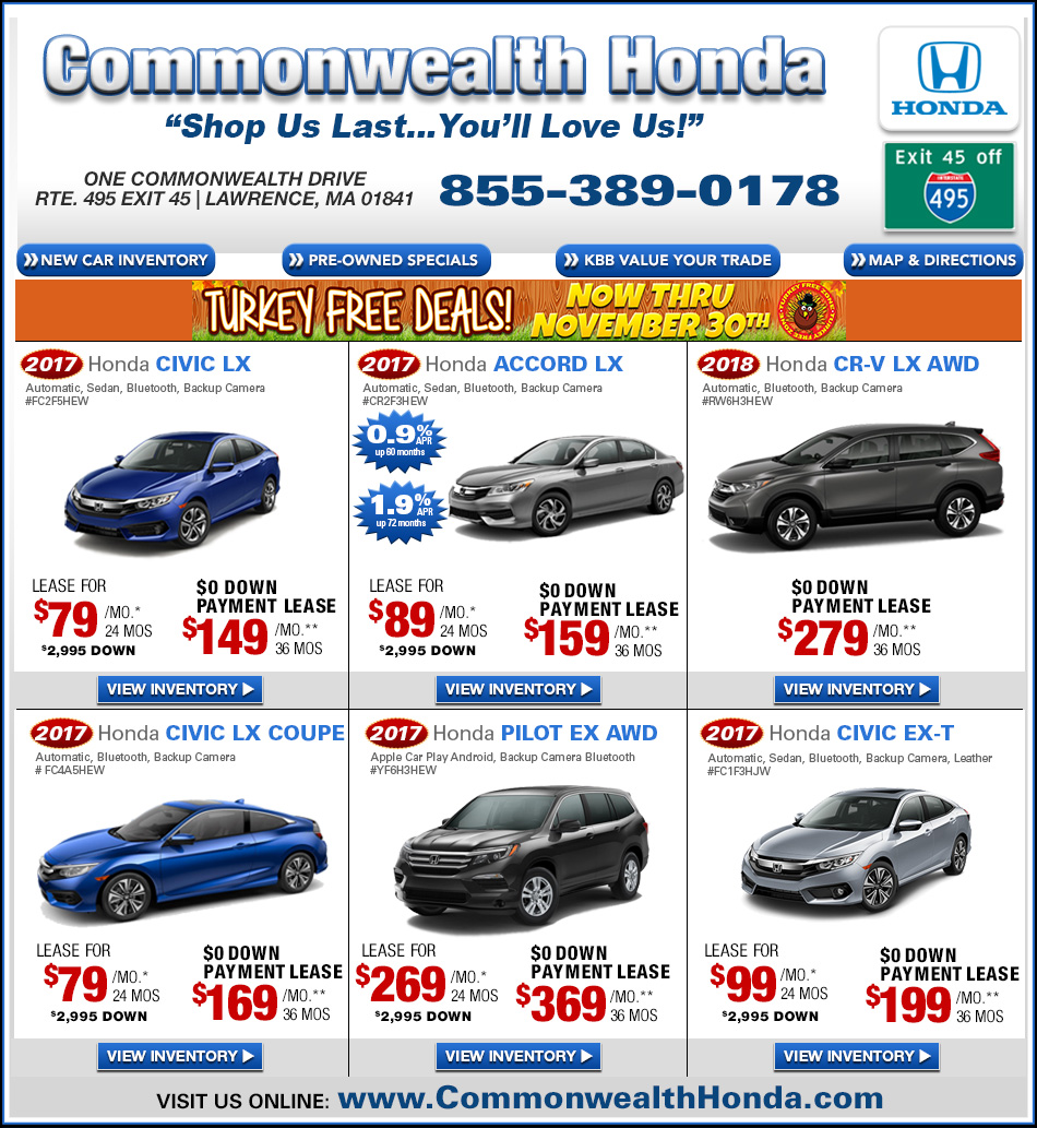 Ma honda dealers deals from commonwealth honda lawrence ma for Commonwealth motors lawrence mass