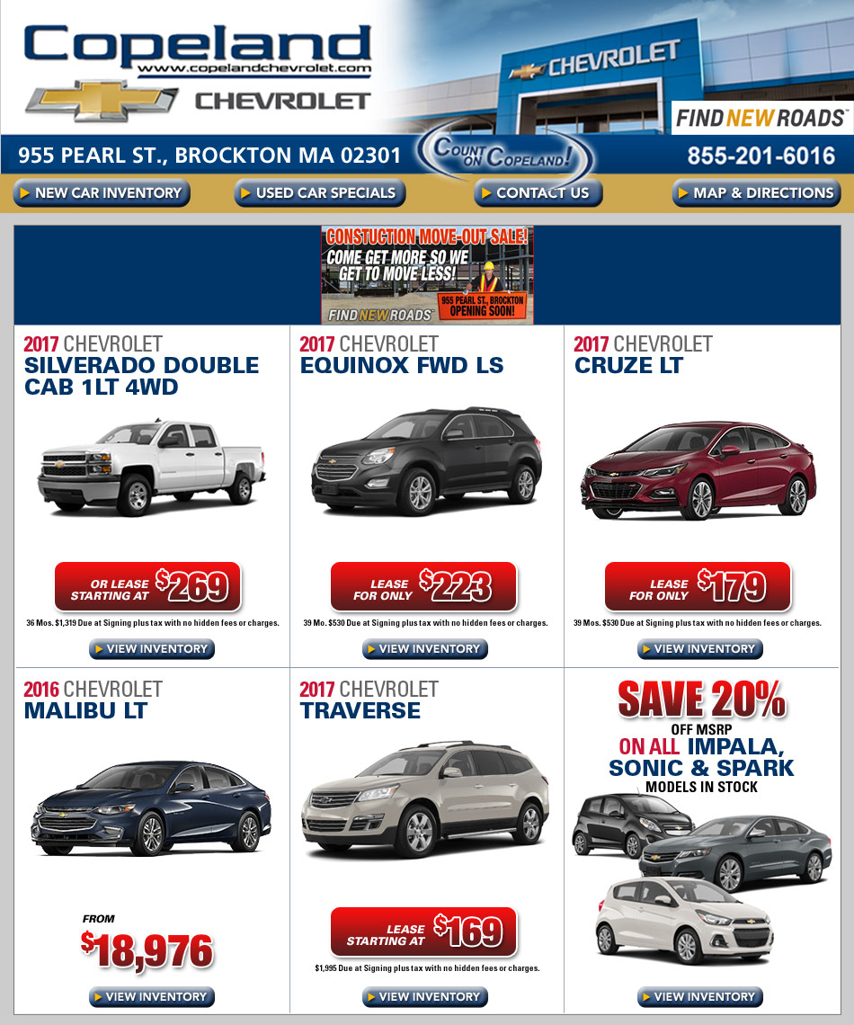 Chevrolet Leases: New Car Specials From Copeland Chevrolet In Brockton, MA