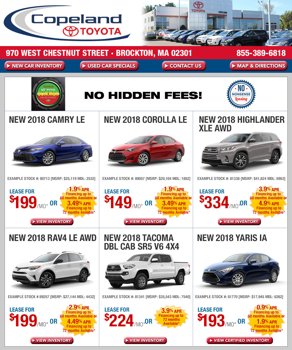 New car specials on toyota from copeland toyota for Toyota motor credit customer service