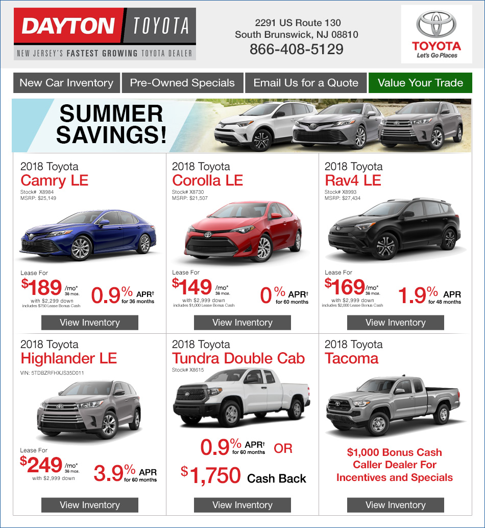 Vehicle Lease Deals >> New Toyota Lease Deals Dayton Toyota South Brunswick Nj