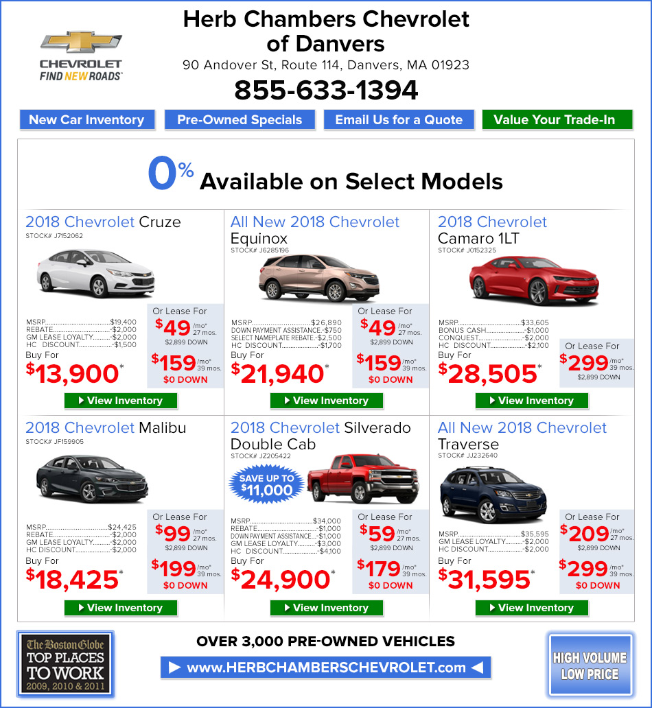 New Car And Truck Specials Herb Chambers Chevrolet