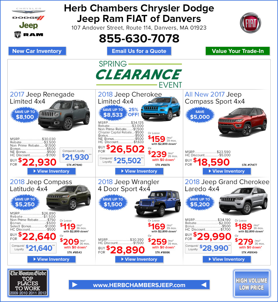 New Car Specials Danvers MA Herb Chambers Chrysler Dodge Jeep - Chrysler capital bonus cash