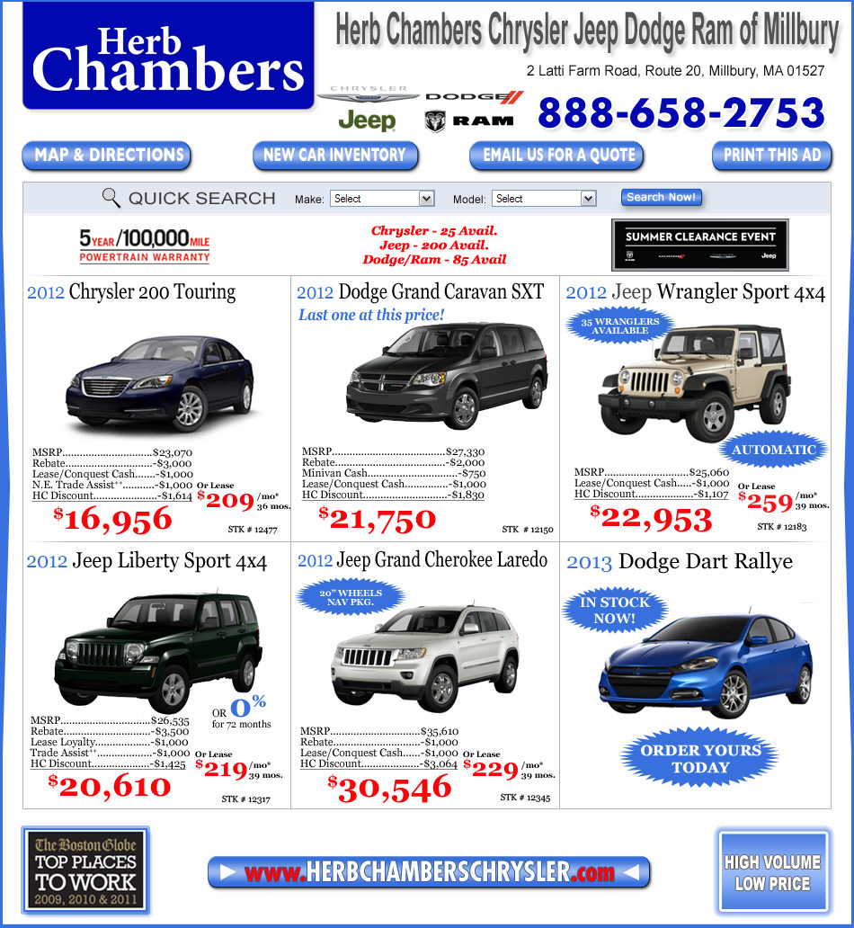 Infiniti Of Westborough >> Herb Chambers Chrysler Jeep Dodge of Millbury   Chrysler Jeep Dodge Dealers Metro West Worcester