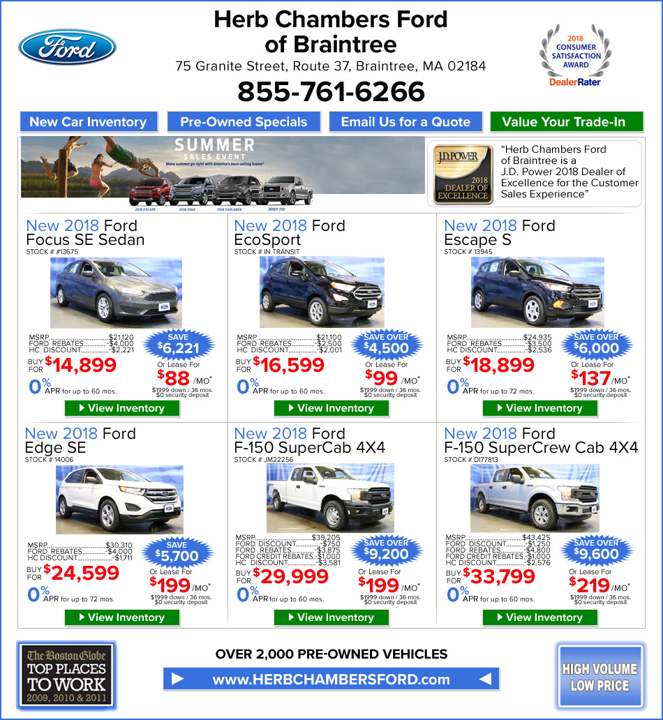 Chrysler Capital Lease Disposition Fee: Specials On New Fords From Herb Chambers Ford Of Braintree