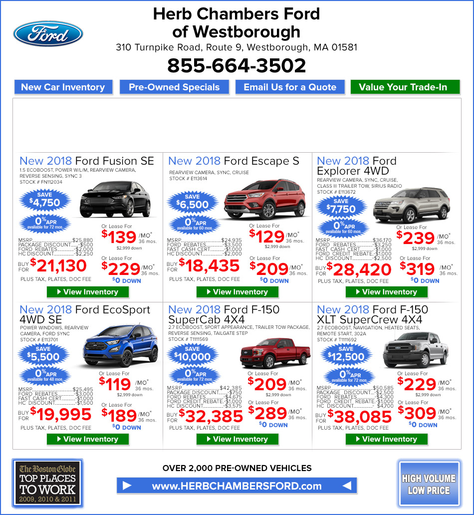 Chrysler Capital Lease Disposition Fee: New Ford Specials On Herb Chambers Ford Of Westborough