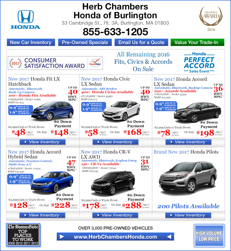 Herb chambers honda of burlington boston honda dealers for Herb chambers boston honda