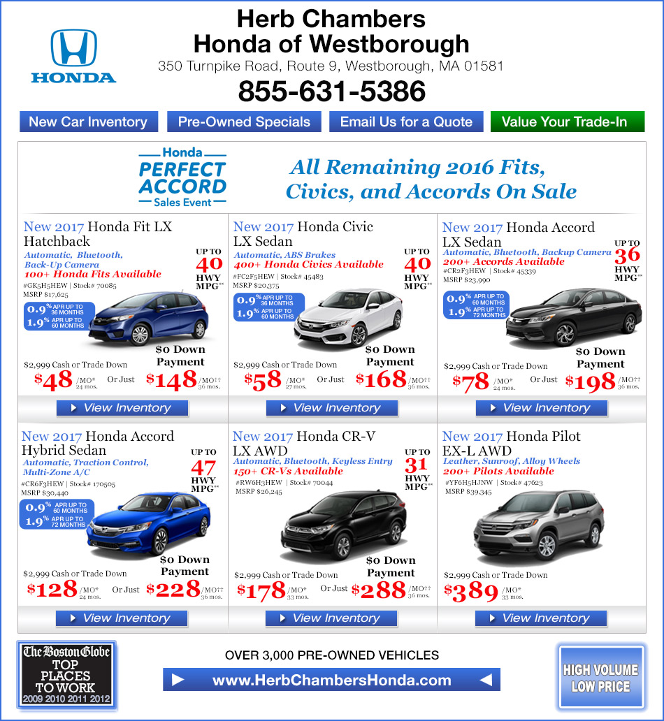 Herb chambers honda of westborough framingham honda for Honda dealer worcester ma