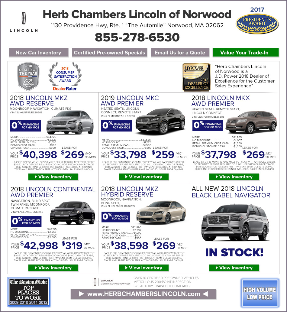 Lincoln Lease Offers: Boston Motor Vehicle Registration