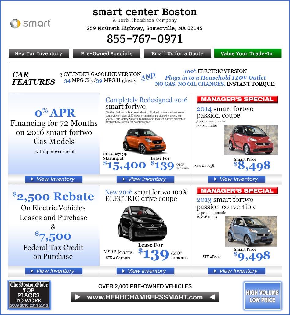 Smart Center Boston A Herb Chambers Company Boston Smart Car Dealers