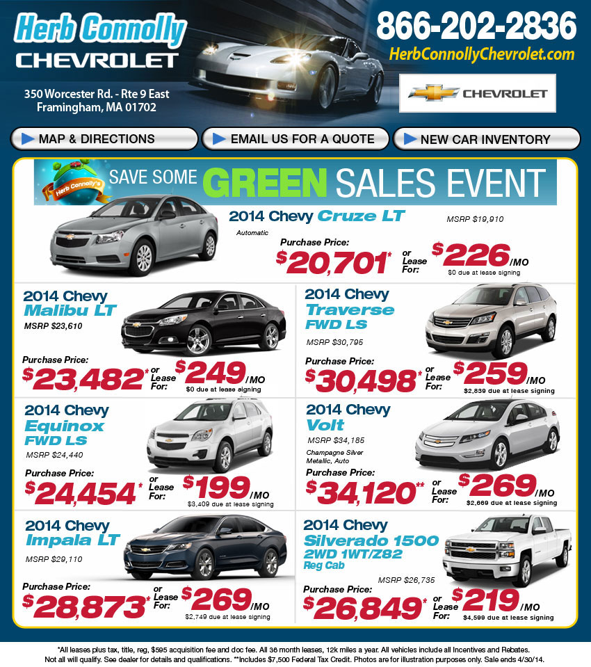 Herb Connolly Chevy >> New Chevy Lease Buy Herb Connolly Chevrolet In Framingham