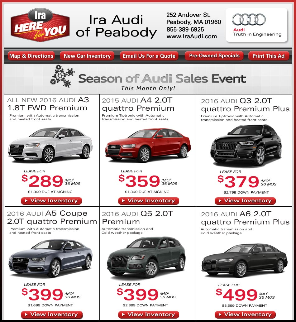 New Car Deals At Ira Audi Of Peabody Boston Sale And Lease Specials - Audi boston