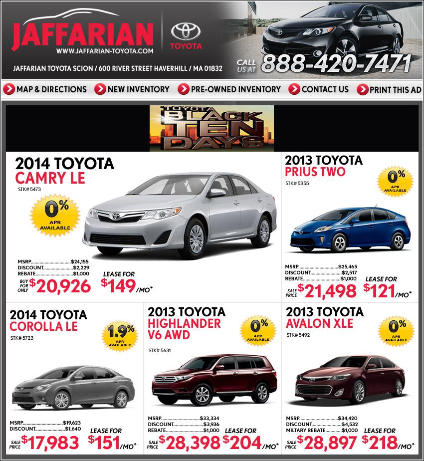 Toyota Financing Deals >> Jaffarian Toyota In Haverhill Ma On Boston Com