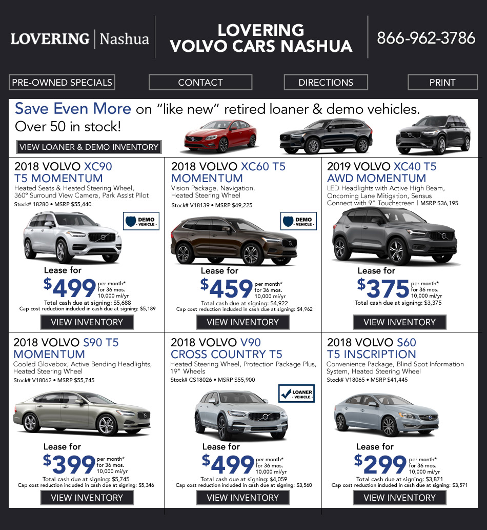Volvo Dealers Nh >> New Volvo Vehicle Specials Lovering Volvo Cars Nashua