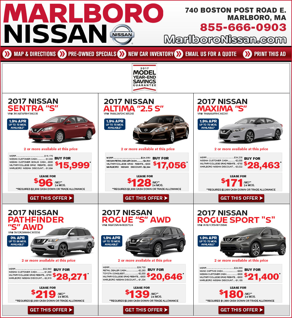 New Nissan Lease Buy Marlboro Nissan In Marlboro Ma On