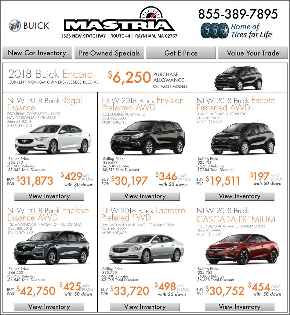 Shop Mastria Buick Raynham New Car Offers Online!