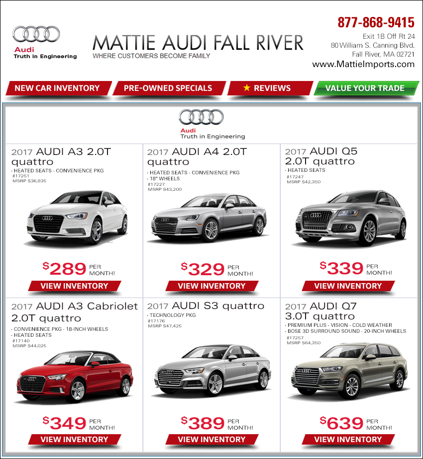 0 Down Payment Car Lease >> Mattie Audi Weekly New Car Internet Deals. Serving Massachusetts & RI