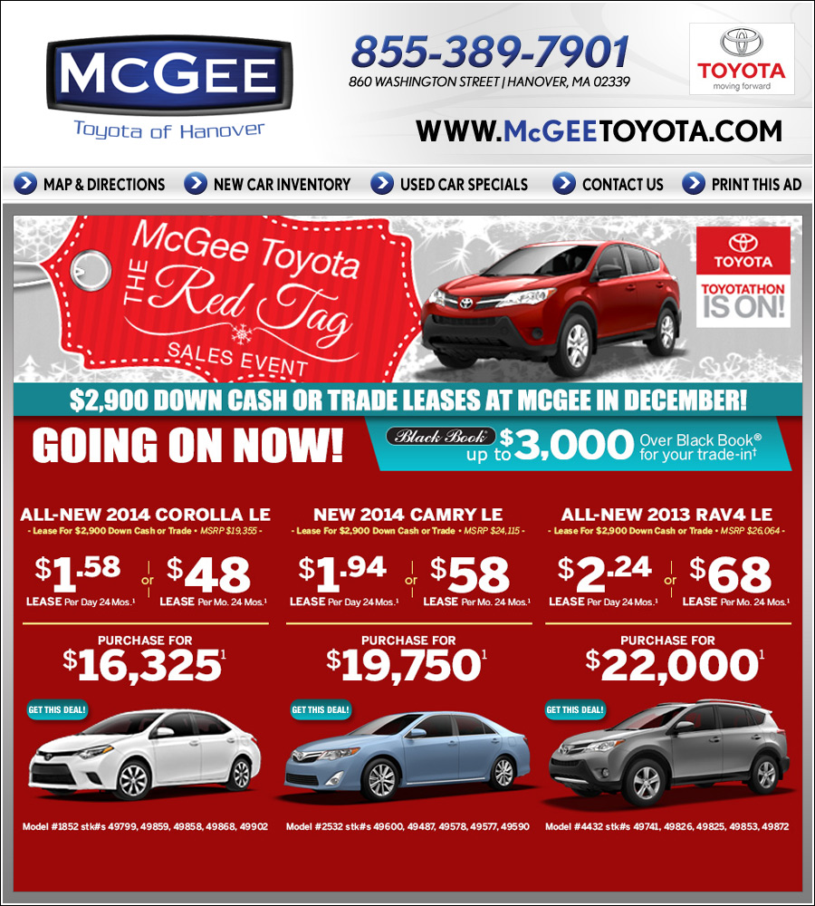 Mcgee Toyota Hanover >> McGee Toyota in Hanover, MA - New Car Deals on Boston.com!