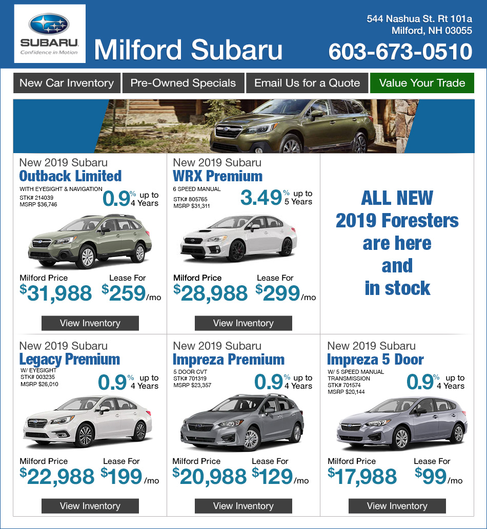 Subaru Of Nashua >> New Subaru Specials Nashua Nh Deals Offers On New Subaru