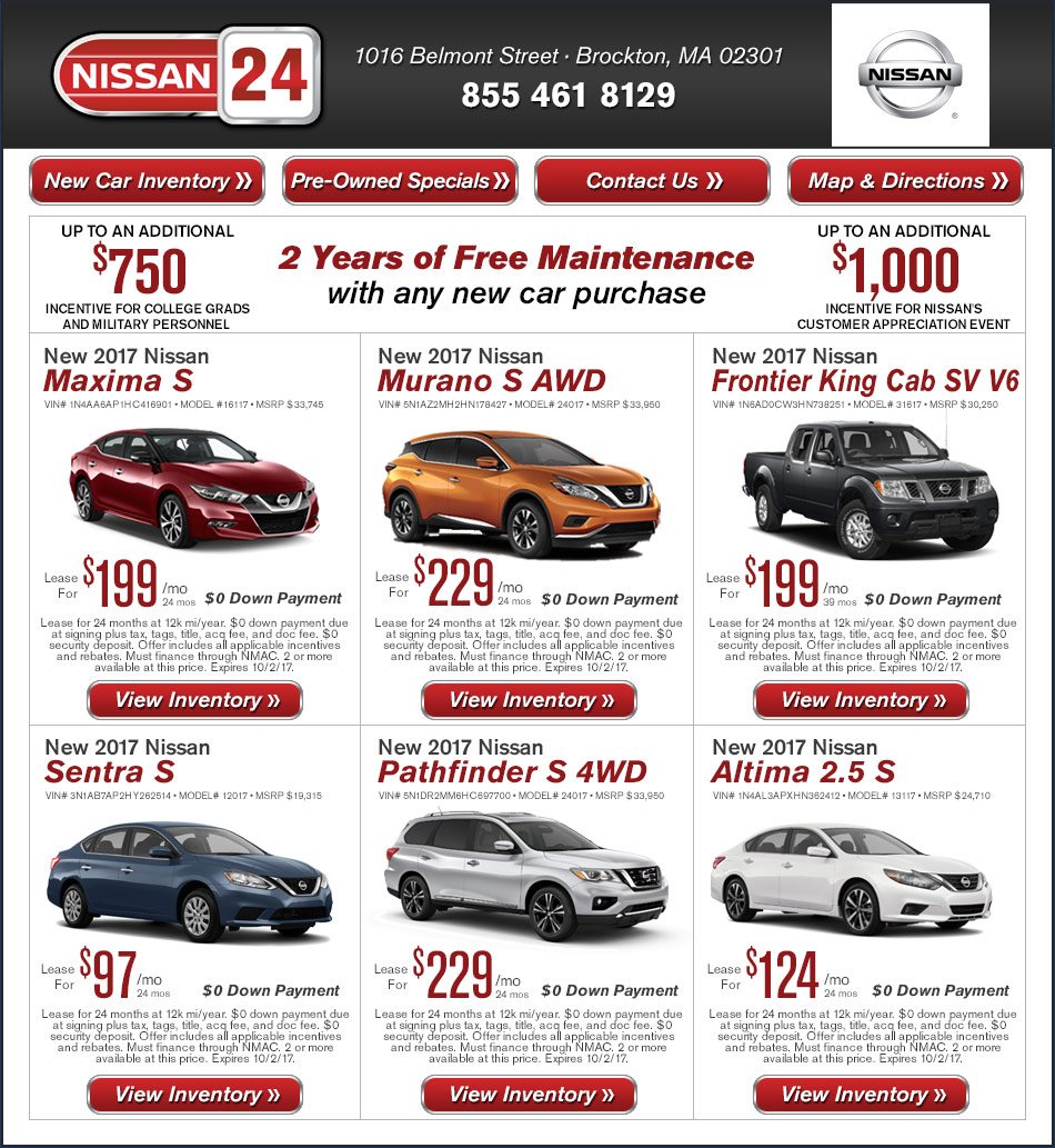 Nissan 24 New Car Offers On Boston.com
