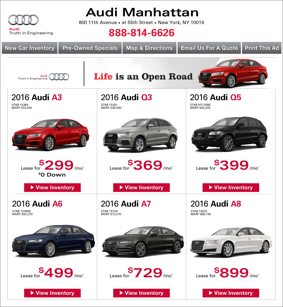 Audi Manhattan New Audi Dealership In New York NY - Ny audi dealers