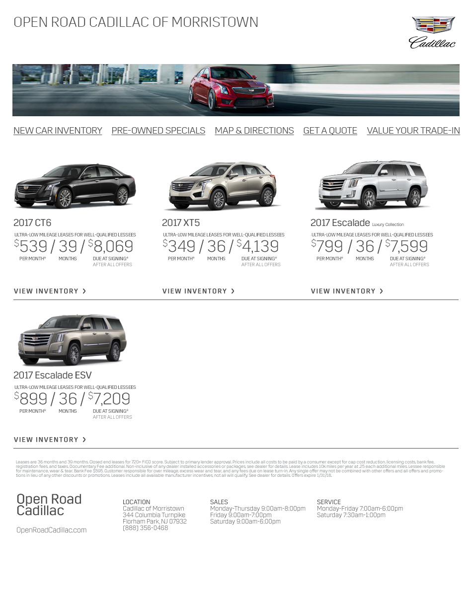 Open Road Cadillac Is A Florham Park Cadillac Dealer And A New Car - Cadillac dealer in nj
