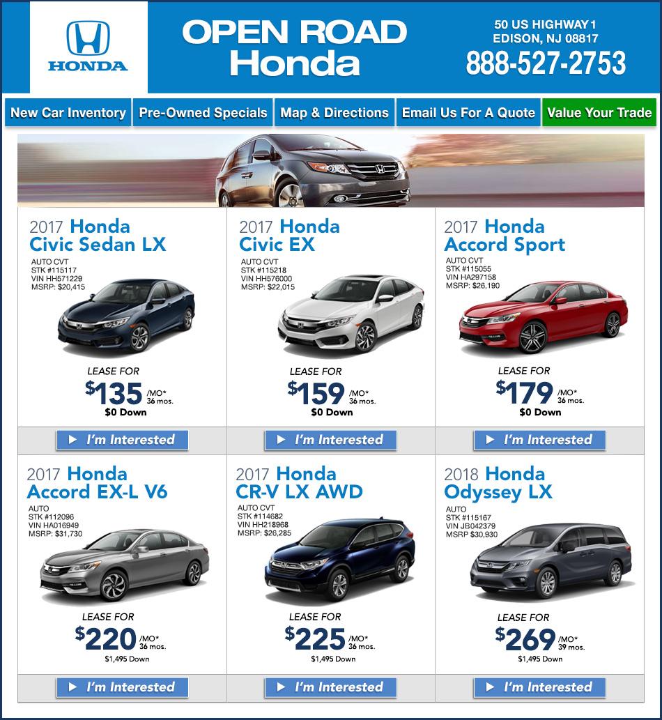 Open Road Honda North Edison New Jersey Honda Dealers