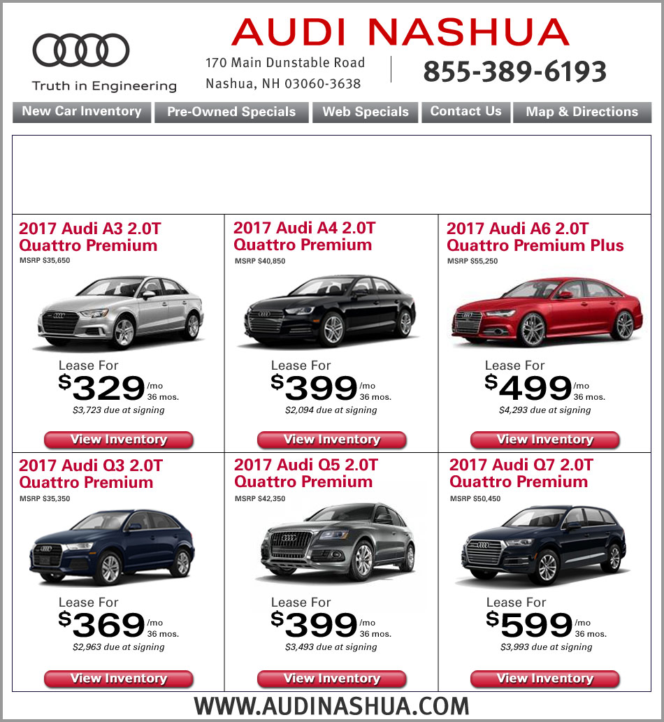 Audi Nashua Internet Specials. Online New Car Lease Deals