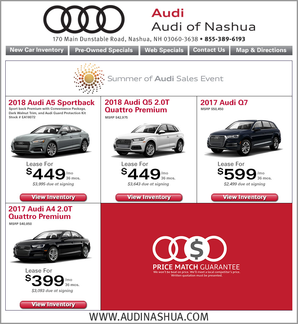 Peabody AudiAudi Nashua Internet Specials Online New Car Lease - Audi nashua