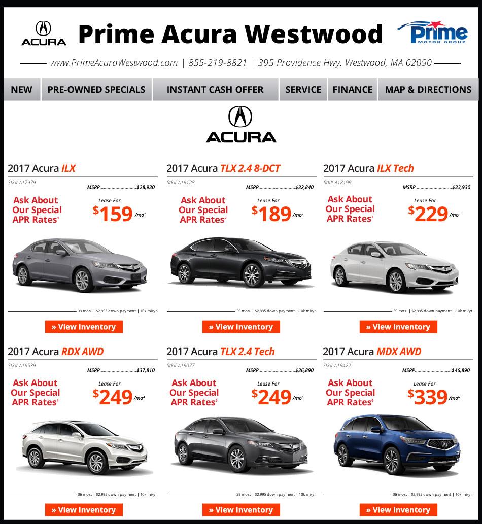 Prime Acura Walpole Weekly New Car Specials. Internet Deals