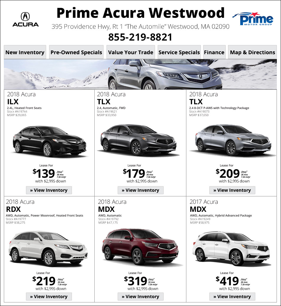 Prime Acura Walpole Weekly New Car Specials. Internet Deals