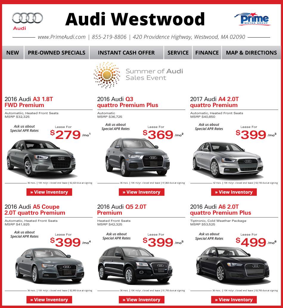 Prime Audi Westwood Weekly New Car Specials. Internet Deals