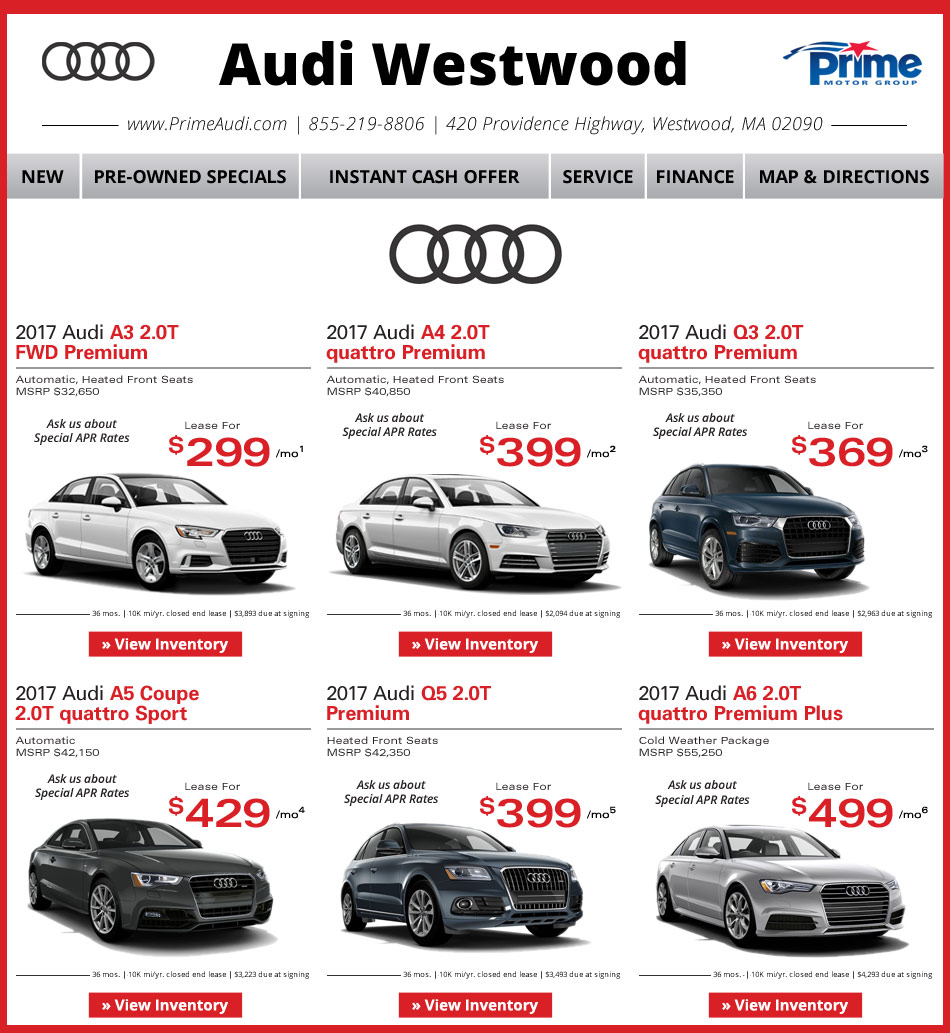 Prime Audi Westwood Weekly New Car Specials. Internet Deals