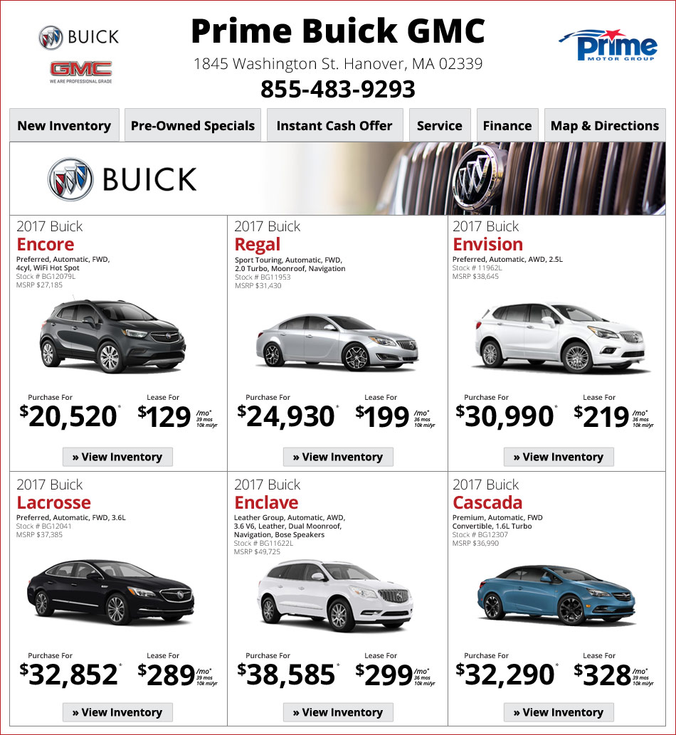 Prime Buick In Hanover, MA Internet Car Deals! Latest New
