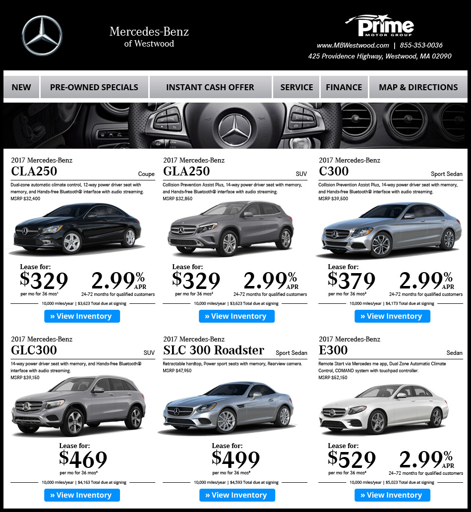 Mercedes benz of westwood new car offers for Prime mercedes benz of westwood