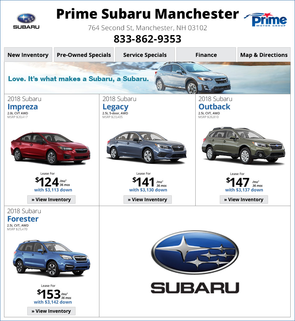 Subaru Dealer Near Me >> Subara Lease Offers Specials Manchester Nh Dealership Near