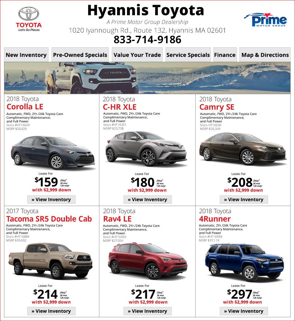Hyannis Toyota Lease Deals Online