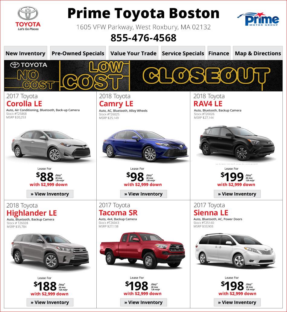 Prime Toyota Dealership Serving Boston/Dedham Line