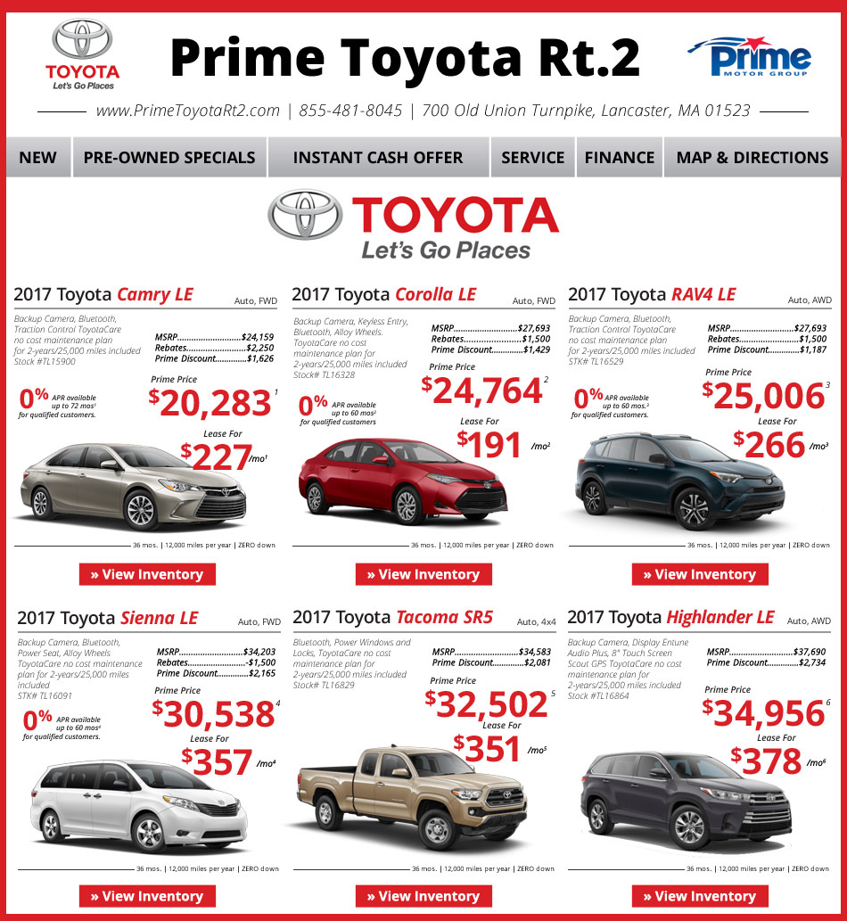 Prime Toyota Route 2: Toyota Dealership In Lancaster MA