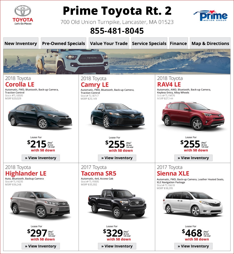 Toyota Dealerships Ma: Prime Toyota Route 2: Toyota Dealership In Lancaster MA