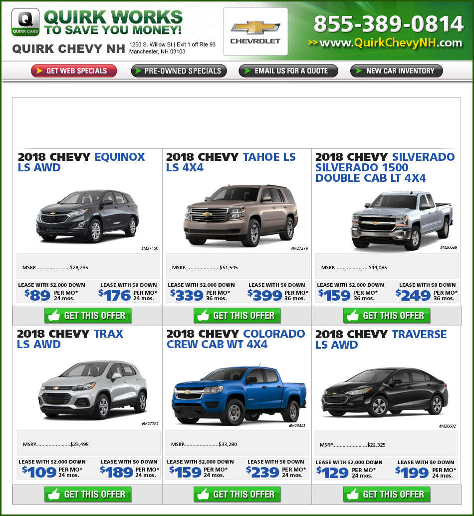 Shop Quirk Chevrolet NH Specials Online - Latest Internet Pricing.